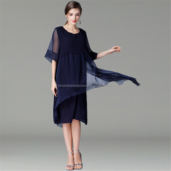 Europe and America big size women apparels 100% polyester irregular decent dress