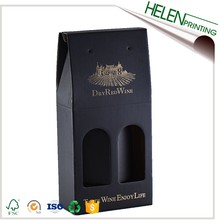 Best price golden foil corrugated paper carrier 2 bottle foldable wine box