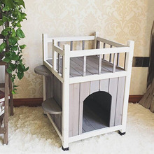 Waterproof wooden cat house with balcony outdoor kennel for small dogs