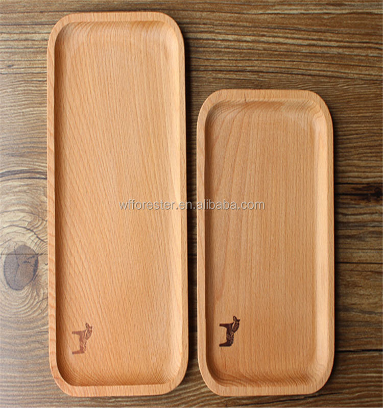 hot sale handmade rectangular wood serving tray with logo