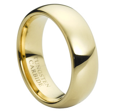 Mens Gold Tungsten Carbide Wedding Engagement Band Ring 8mm
