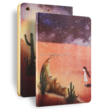 leather smart cover cases for ipad air2 painting case wake up case for ipad air