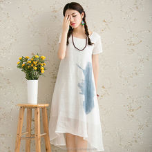 Ethnic style two piece printed chiffon formal evening suzhou prom real sample