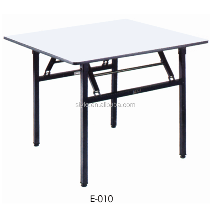 Banquet hall tables whosale E-010 foldable table ,square dining table with PVC/ HPL top material