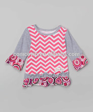 Girls Chevron Back to School Dress lovely pink princess baby girls floral cotton dress