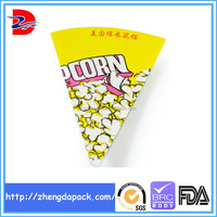color print cone shaped packaging paper popcorn bags