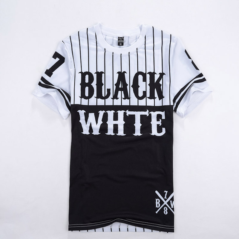 Summer Black White Patchwork Men Women T shirt Baseball Tee Shirts Man Hip Hop Clothes Short sleeve Camisetas