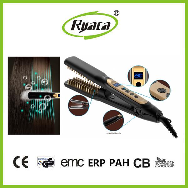 LED display hair iron hair straightener brush steam hair straightener