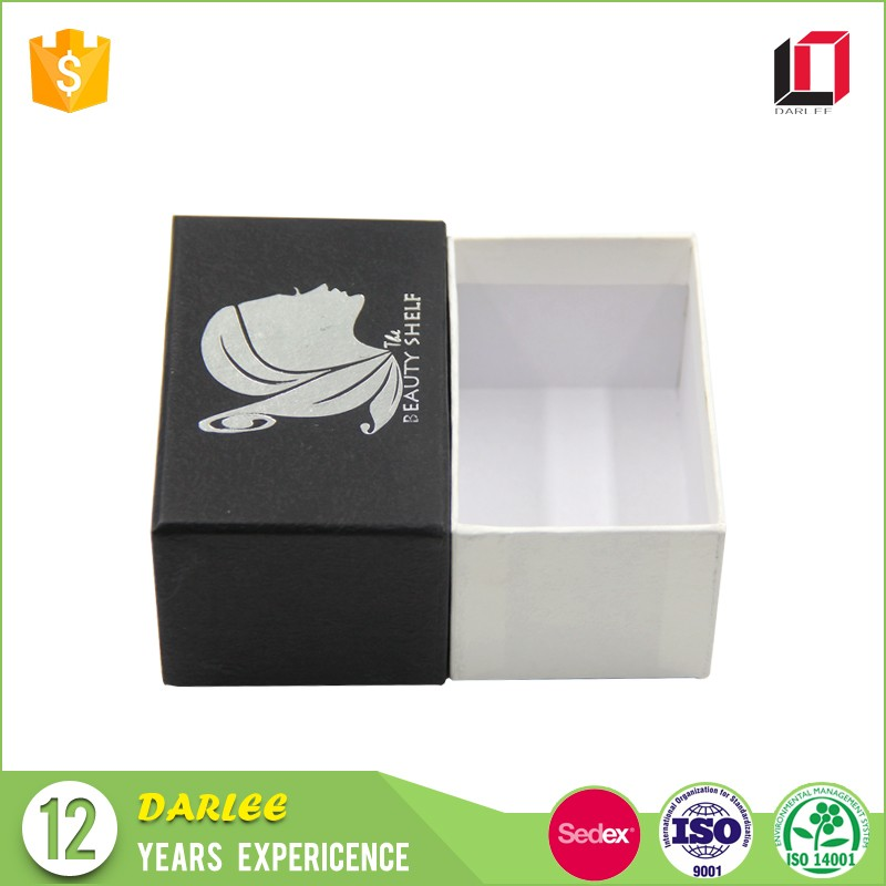 High end luxury black paper packaging business card box with lids