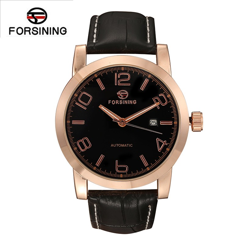 Forsinning male watch luxury men automatic mechanical black dial day date leather belt sport fahsion male casual watch