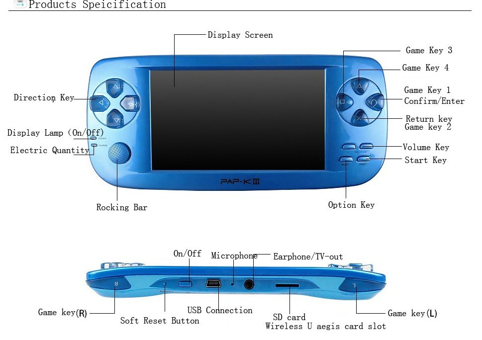 PAP-KIII game console wholesale video game player free download 3d games with mp4/mp5 function