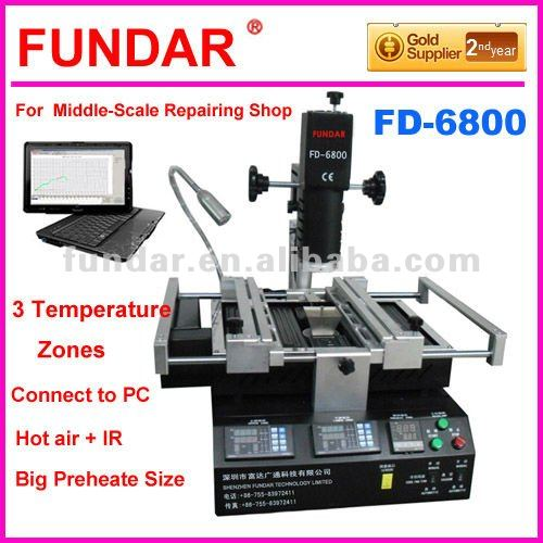 Cheap price FUNDAR FD-6800 intelligent software control 3 temperature zone BGA soldering station Upgrade from zhuomao zm-r590