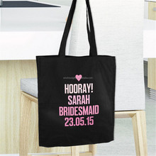 Personalised Pink Text Black reusable Shopping Bag - Free Delivery cotton bag open top