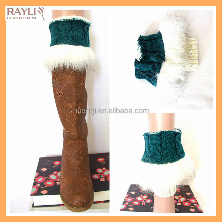 8 colors acceptable wholesale stock style Fashion Knit faux fur boot cuff topper