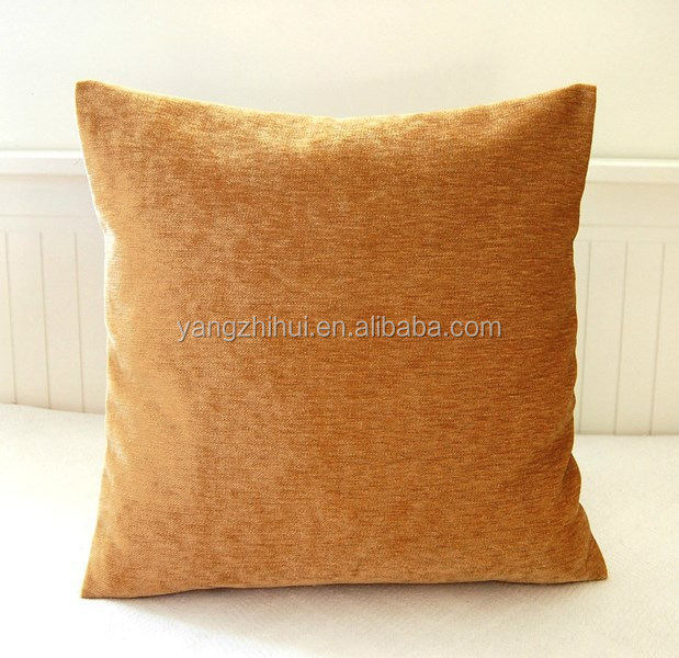 gold accent 16 inch solid honey decorative chenille pillow