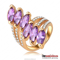 LZESHINE Hot Selling Ring Zinc Alloy Female Jewelry 18K Gold Plated Purple CZ Vintage Leaf Ring for Women Ri-HQ0315