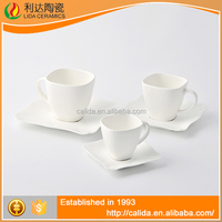 Competitive price factory direct sale white LM661 bone china coffee cups and saucers made in China