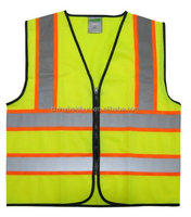 Wholesale 2014 News OEM 100% polyester reflective safety vest with zipper & ID pockets