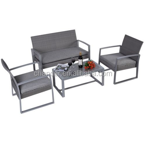 Outdoor 4 PCS Patio PE wicker sofa set garden sofa set with 5cm thickness cushions
