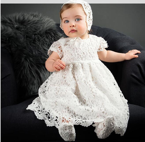 Baby Infant Girl Baptism Dress Flower Newborn Gown White Lace Christening Dress