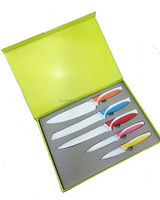 ANB1014 5pcs Colorful Non-Stick Kitchen Knife Set Swiss Line Color Knife with Gift Box