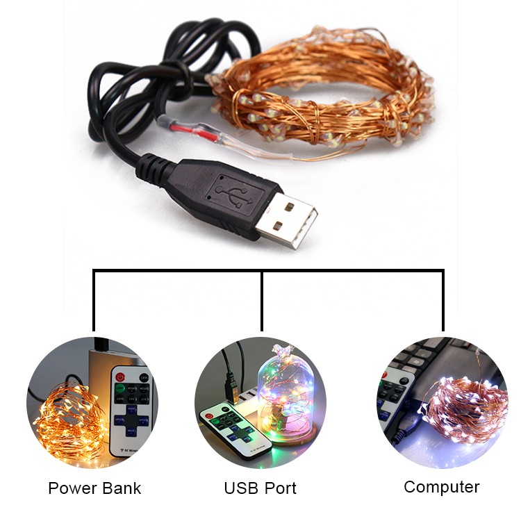 Christmas Decor 10m Remote Controlled USB Powered LED String Light for Bedroom Living Room Hotel