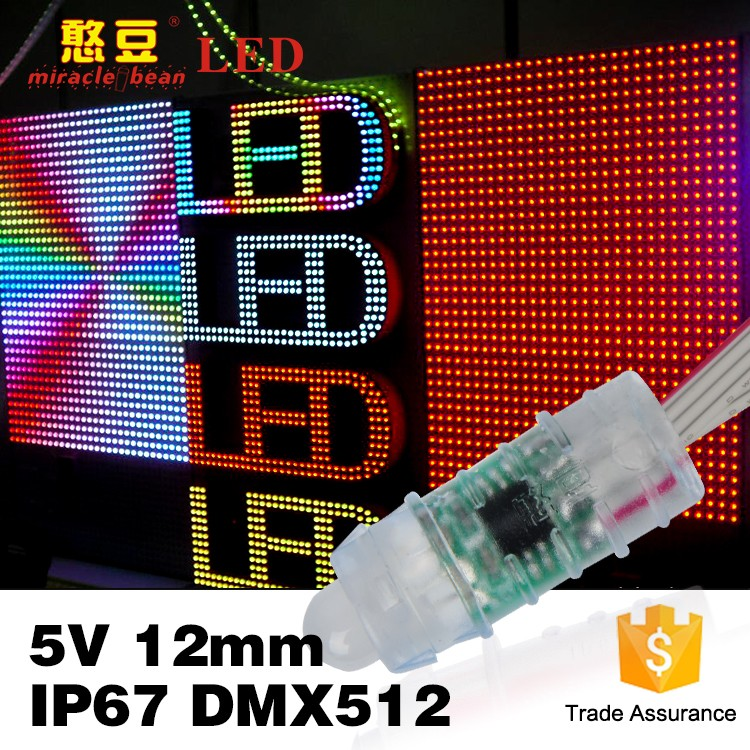 12mm Led Pixel Light DMX RGB Led Pixel Waterproof DMX512 Strings