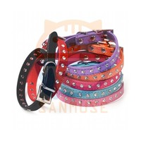 Hot Sale Pet Products Genuine Leather Diamond Studded Rhinestone Pet Dog Collar 01