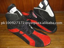 Nomex Car Racing Shoes Red Black with white lining sfi 3.3 level