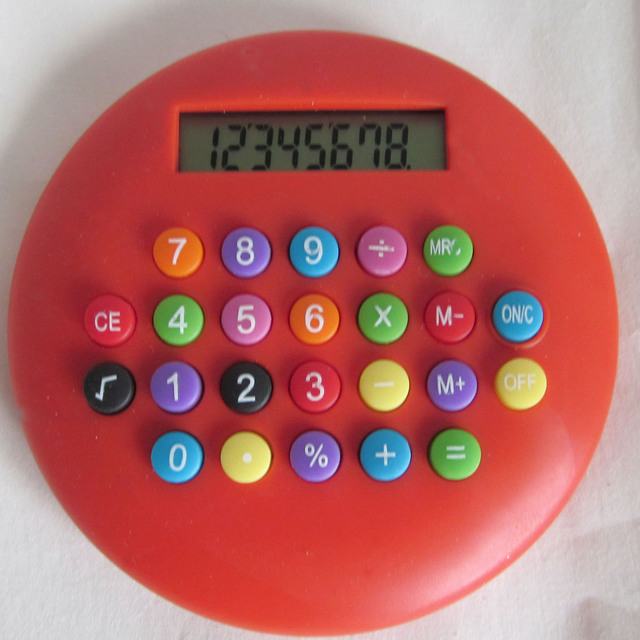 Round cute calculator with colorful button