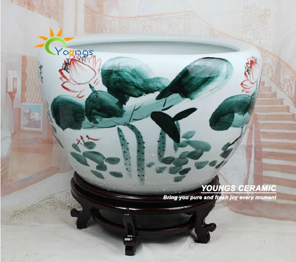 Large chinese hand painted lotus ceramic fish planter indoor decorative plant pots planters