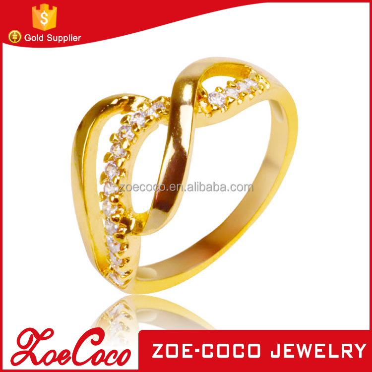 18K gold plated latest gold finger ring designs mircopave setting wedding finger ring