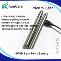 E cigarettes Evod passthrough battery new design Micro 5 pin interface USB battery evod battery 650 900 1100mah Evod Passthrough