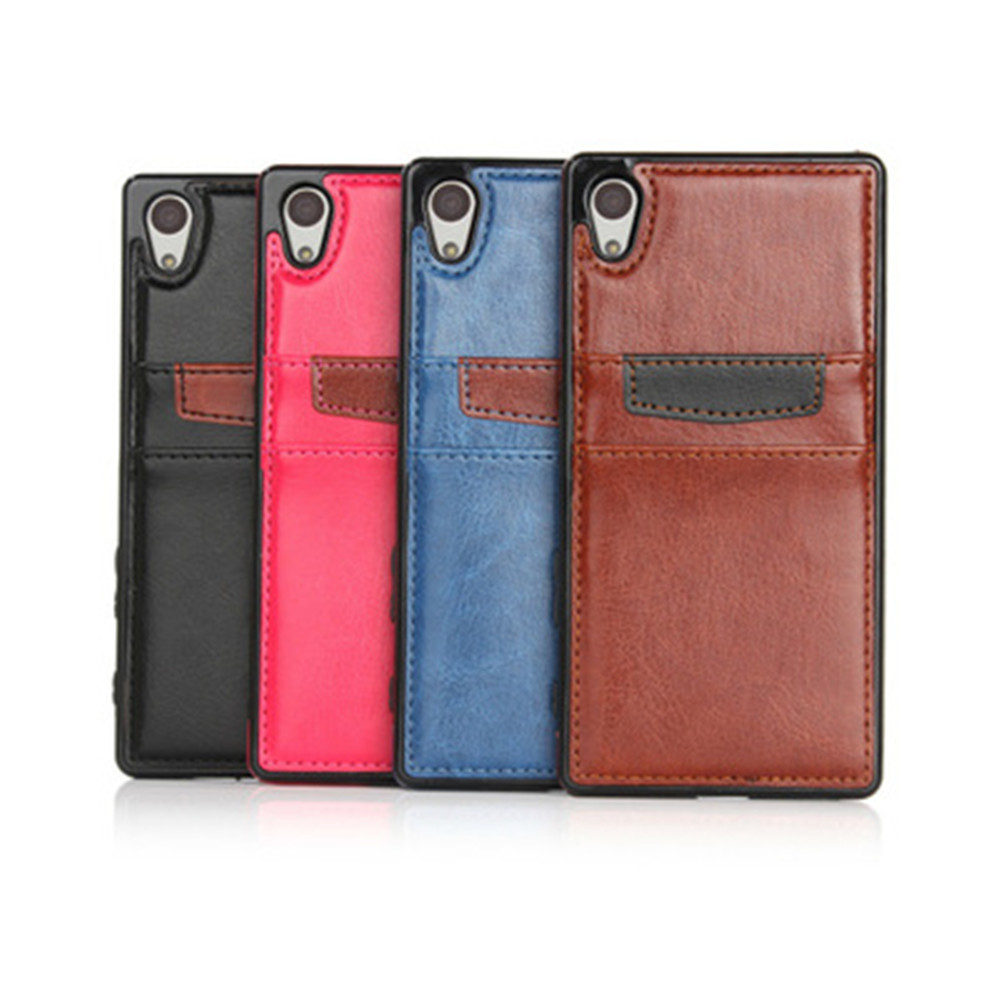 pu wallet leather cover case for sony xperia z5 with card slot