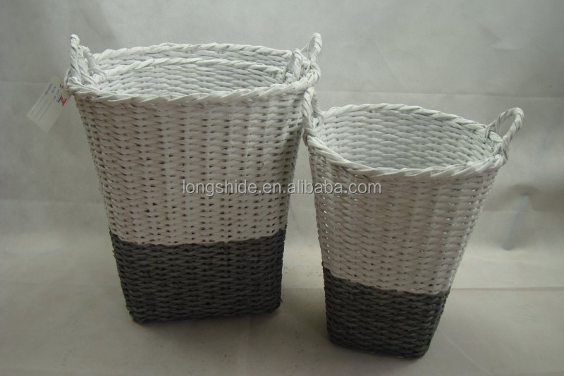 White Rect Wicker Storage Basket; Willow Picnic Basket