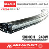 Offroad led light bar curved single row / atv suv truck tuning light single row curved 3D reflector slim light bar 50''