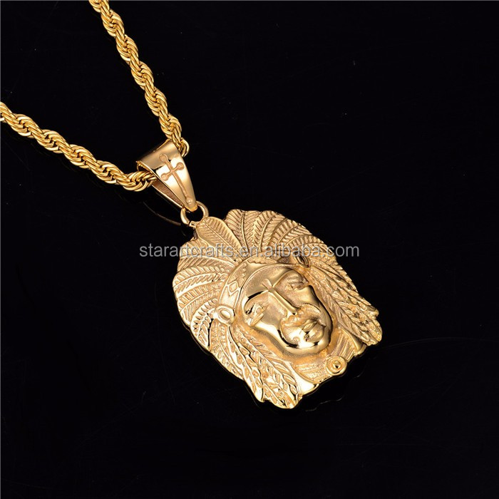 "Hot Sell Hip hop Indian Chief Head 18K Gold Plated Pendant 26"" In Cuban Curb Chain Necklace Hip Hop Jewelry Wholesale P630"