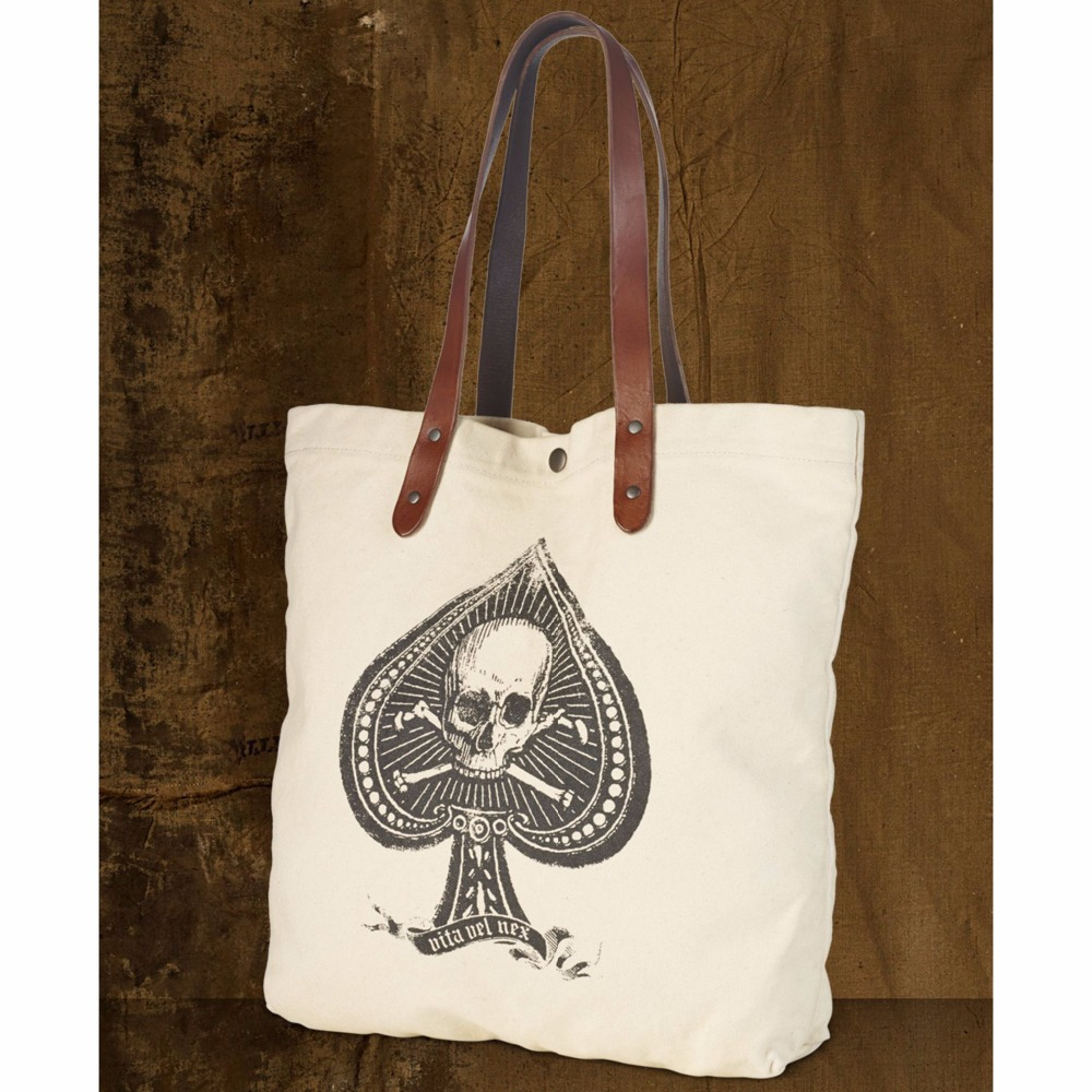 Hand Painted Canvas Tote Bag with Leather handle