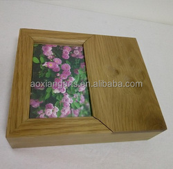 Customized Wooden Photo Keepsake Box With Frame Picture Album Box