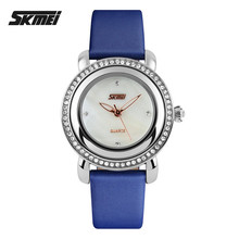 Shell inlay blanks watch bracelet SKMEI 9093 wholesale diamond watches ladies women wristwatches luxury with leather strap