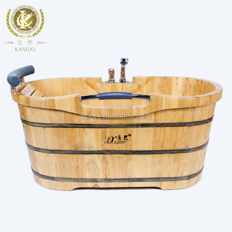 Massage function wooden bathtub with faucet portable shower tub
