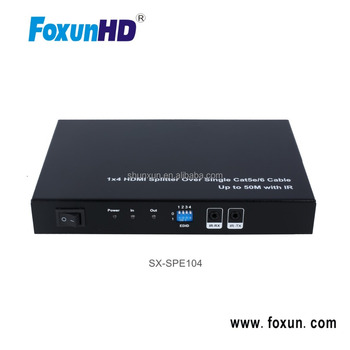 HD 1080P HDMI Splitter 1X4 with 4 UTP Output, 1 Looping HDMI Output, Splitter Support Cascade for 4 layers
