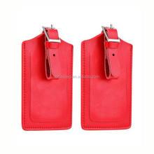 Travel genuine Leather Luggage Bag Tags 2 Pieces Set in 8 Colors