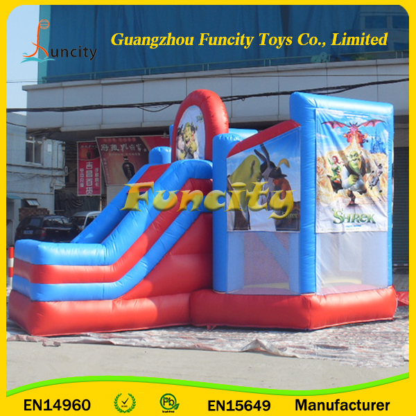 Manufacturer 0.55mm PVC Tarpaulin Inflatable Shrek Bounce House / Bouncy Castle Rentals for Sale