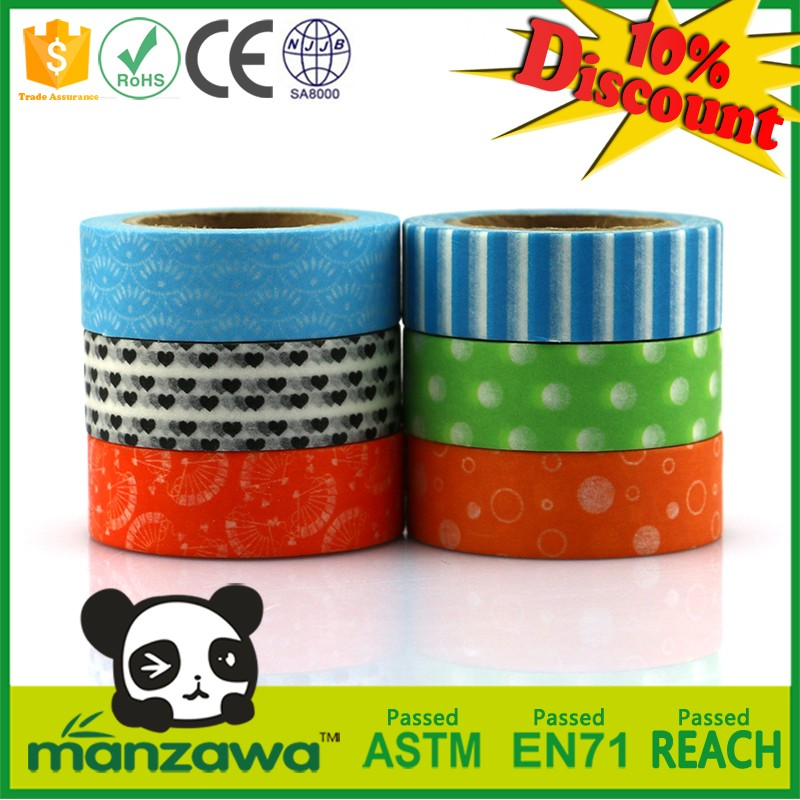 China supplier printed japanese handmade flower washi paper tape custom masking tape dots custom paint gold masking tape