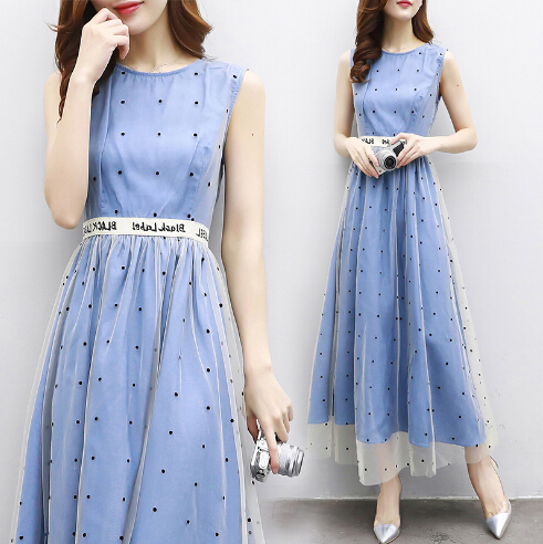 Polka Dot printed chiffon dress women clothes 2017 summer