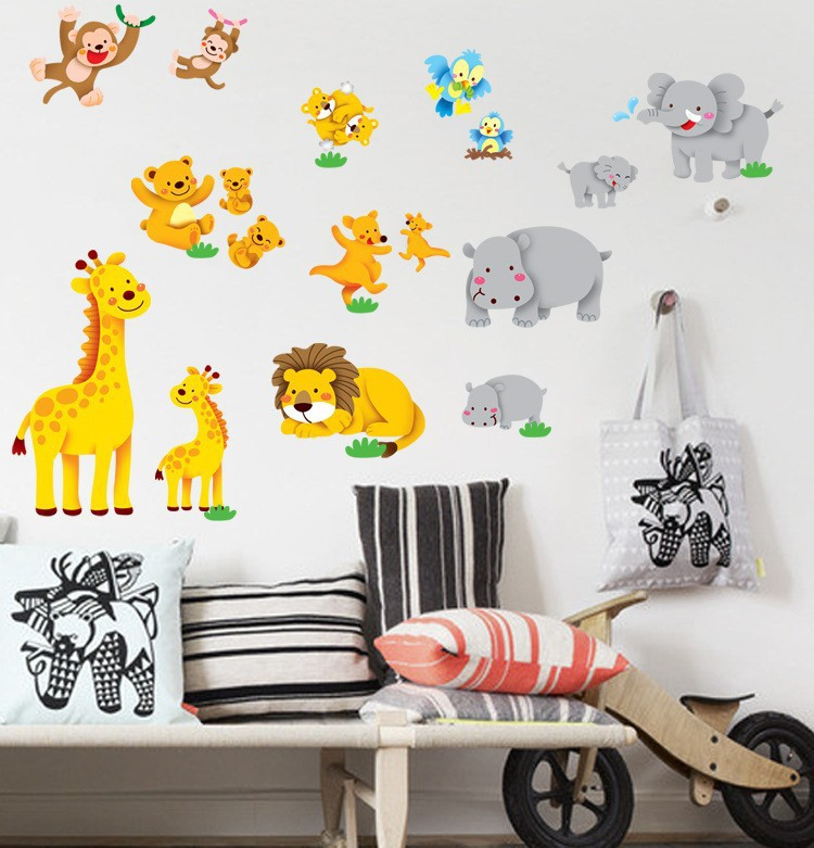 2015 Free shipping Jungle animal lion monkey elephant zoo wall stickers for kid room 0145 removable vinyl wall decals