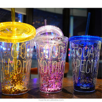 Hot hot hot Flash powder double Tritan plastic cup with straw