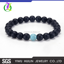 JTBR1032 Yiwu Huilin Jewelry Hot Sale health jewelry findings DIY beads with Blue stone yoga bead bracelet