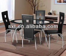 2013 luxury oval glass top dining table design